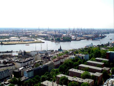 River port and panoramic view of Hamburg, Germany photo