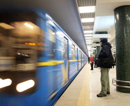 A subway train coming to the station