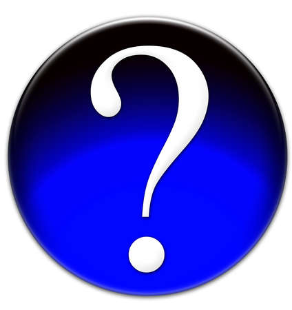 times new roman: The glassy isolated illustration of a blue question mark button with Times New Roman font type