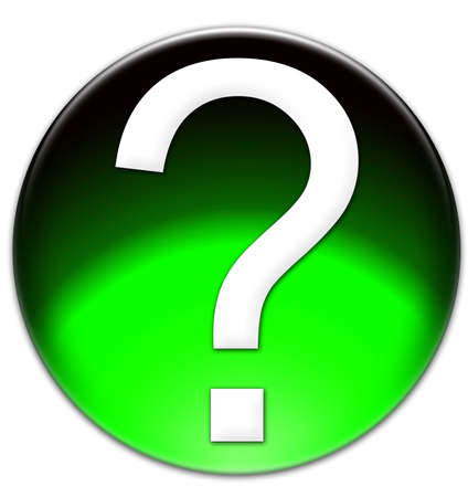arial: The glassy isolated illustration of a green question mark button with Arial font type Stock Photo