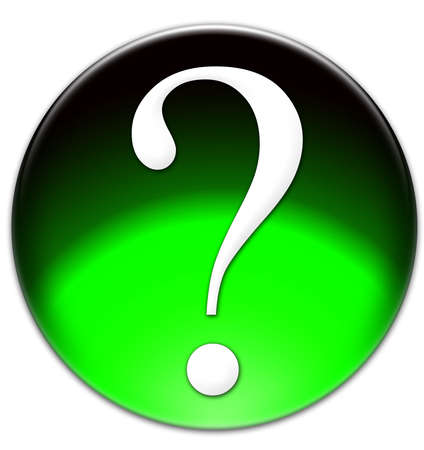 times new roman: The glassy isolated illustration of a green question mark button with Times New Roman font type Stock Photo