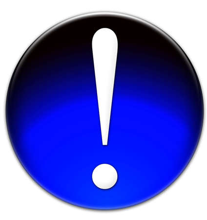 times: Exclamation mark Times New Roman font type on a blue glassy button isolated on white background