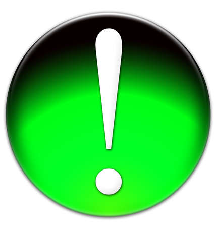 times new roman: Exclamation mark Times New Roman font type on a green glassy button isolated on white background Stock Photo