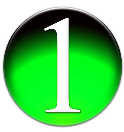 times new roman: Number 1 Times New Roman font type on a green glassy button isolated on white background Stock Photo