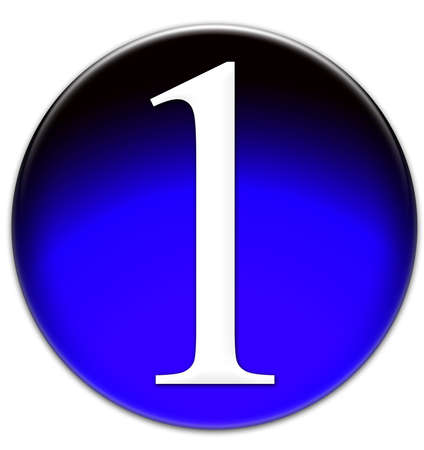 times new roman: Number 1 Times New Roman font type on a blue glassy button isolated on white background Stock Photo