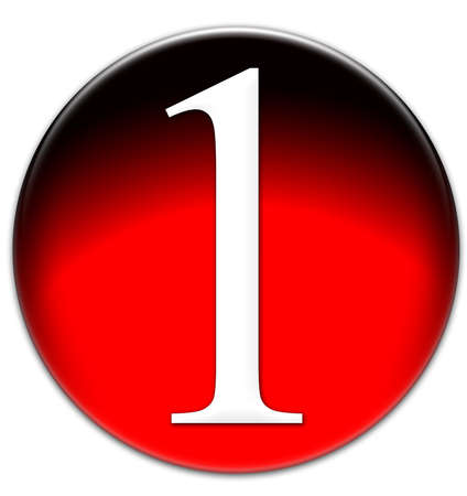 times new roman: Number 1 Times New Roman font type on a red glassy button isolated on white background
