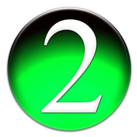times new roman: Number 2 Times New Roman font type on a green glassy button isolated on white background