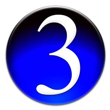 Número 3 Times New Roman tipo de letra en un botón azul vidrioso aislado sobre fondo blanco Foto de archivo - 18939226