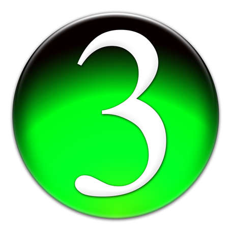 times new roman: Number 3 Times New Roman font type on a green glassy button isolated on white background