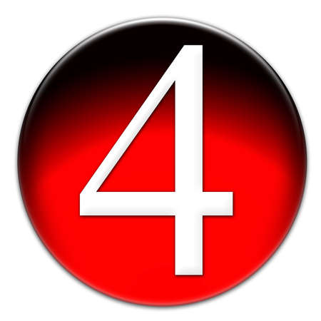 Número 4 Times New Roman tipo de letra en un botón cristalino rojo sobre fondo blanco Foto de archivo - 18939231