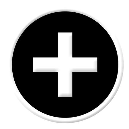 A white cross sign in a black button isolated on white background photo