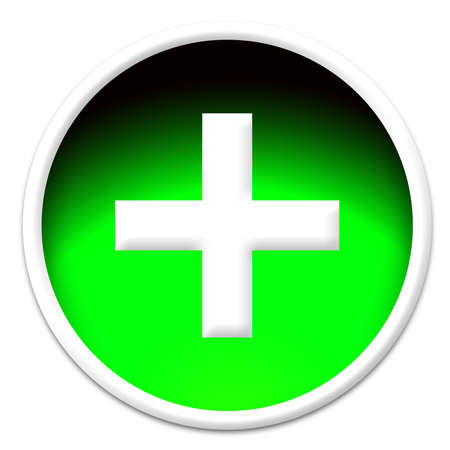 A white cross sign in a green glassy button isolated on white background photo