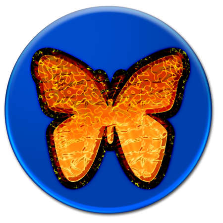 Illustration art of a fire butterfly on a blue glassy button isolated over white background illustration