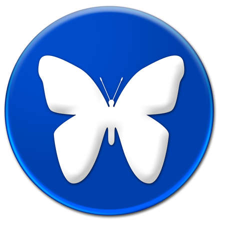 Illustration art of a white butterfly sign on a blue glassy button isolated over white background illustration