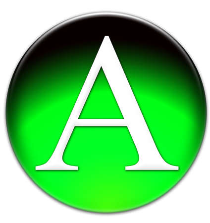 times new roman: Letter A Times New Roman font type on a green glassy button isolated on white background Stock Photo