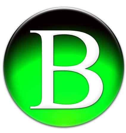 times new roman: Letra B Times New Roman tipo de letra en un bot�n verde cristalino aislado en fondo blanco