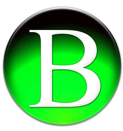 Letter B Times New Roman font type on a green glassy button isolated on white background