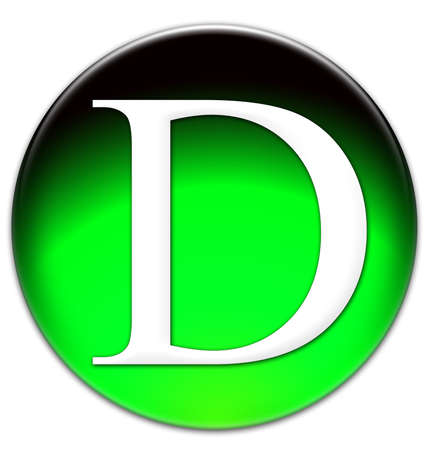 times new roman: Letter D Times New Roman font type on a green glassy button isolated over white background