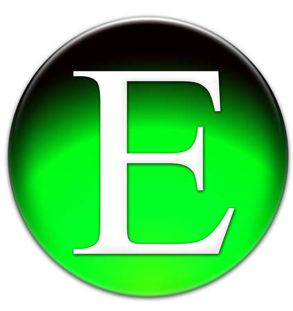 Letter E Times New Roman font type on a green glassy button isolated over white background