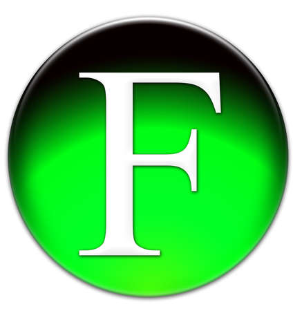 times new roman: Letter F Times New Roman font type on a green glassy button isolated over white background