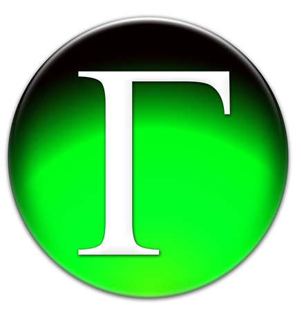 times new roman: Letter G in Russian Times New Roman font type on a green glassy button isolated on white background