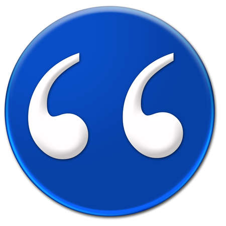times new roman: A quote mark symbol Times New Roman glassy blue button isolated over white background