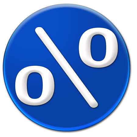 arial: A white per cent symbol Arial Rounded font type on a blue glassy button isolated over white background Stock Photo