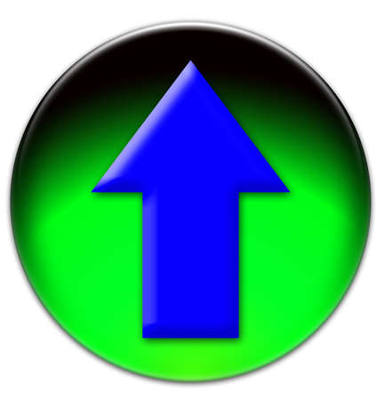 Blue arrow sign looking up on a green glassy button isolated on white background photo