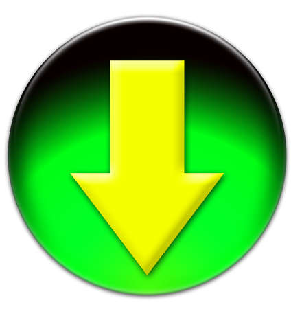 Yellow arrow looking down on a green glassy button isolated on white background photo