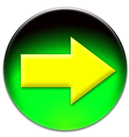 Yellow arrow looking right on a green glassy button isolated on white background photo
