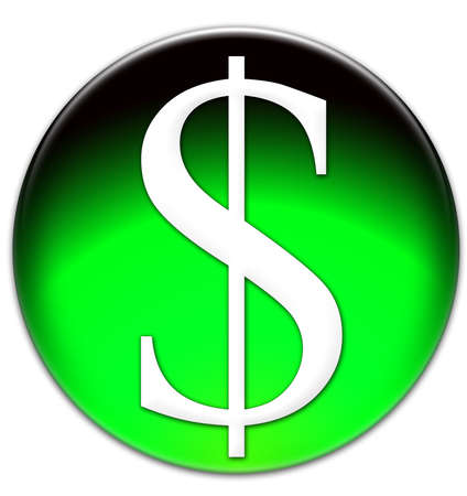 times new roman: Dollar sign Times New Roman font type on a green glassy button isolated over white background