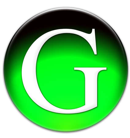 Letter G Times New Roman font type on a green glassy button isolated over white background