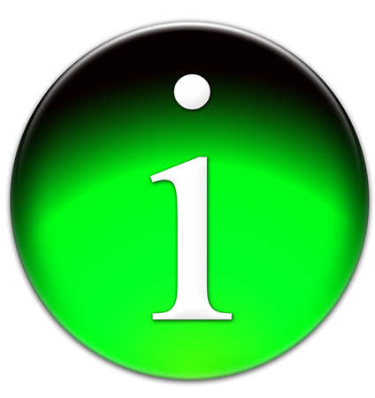 times new roman: Letter I Times New Roman font type on a green glassy button isolated over white background