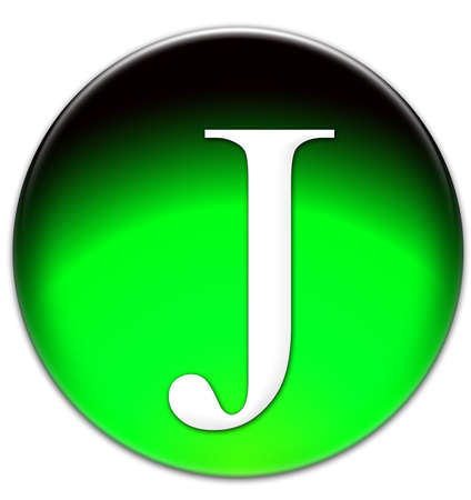 times new roman: Letter J Times New Roman font type on a green glassy button isolated over white background Stock Photo