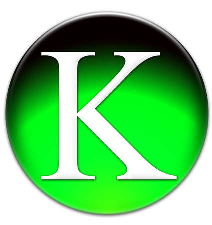 times new roman: Letter K Times New Roman font type on a green glassy button isolated over white background