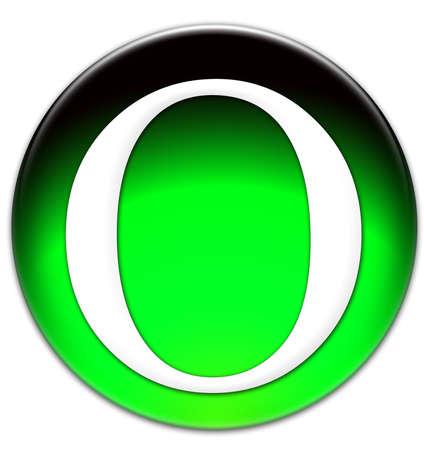 times new roman: Letra O Times New Roman tipo de letra en un bot�n verde vidriosos aislados sobre fondo blanco