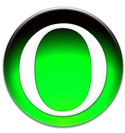 Letter O Times New Roman font type on a green glassy button isolated over white background Stock Photo