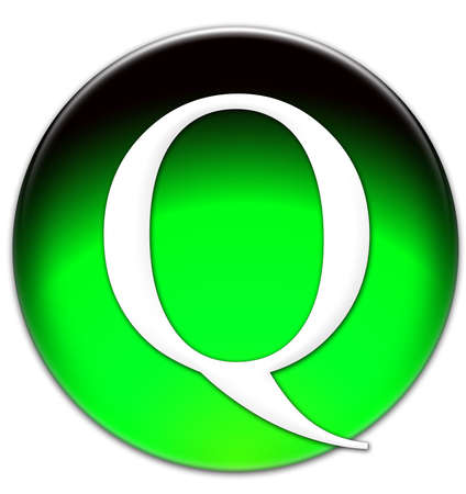 Letter Q Times New Roman font type on a green glassy button isolated over white background