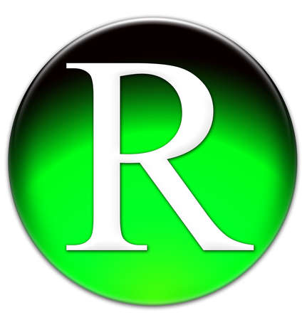 times new roman: Letter R Times New Roman font type on a green glassy button isolated over white background