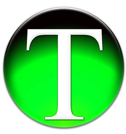 times new roman: Letter T Times New Roman font type on a green glassy button isolated over white background Stock Photo