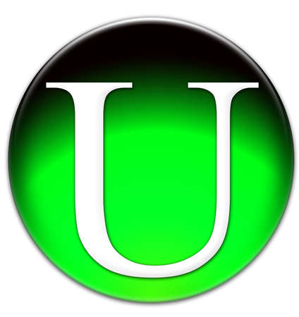 times new roman: Letter U Times New Roman font type on a green glassy button isolated over white background Stock Photo