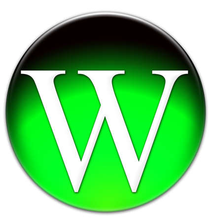 times new roman: Letter V Times New Roman font type on a green glassy button isolated over white background
