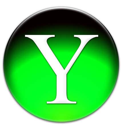 times new roman: Letra Y Times New Roman tipo de letra en un bot�n verde vidriosos aislados sobre fondo blanco Foto de archivo