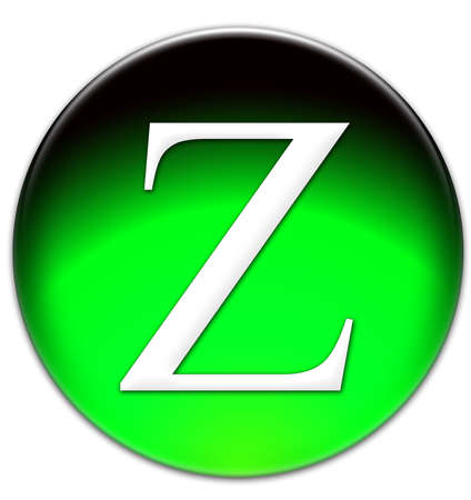 times new roman: Letter Z Times New Roman font type on a green glassy button isolated over white background