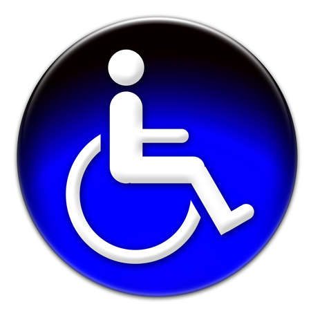 reserved seat: Handicap icon on a blue glassy button isolated over white background