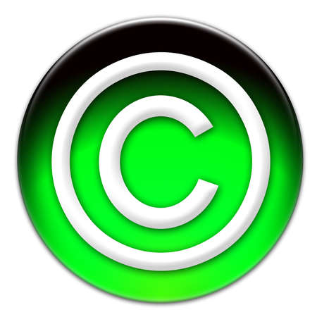 Copyright icon on a green glassy button isolated over white background photo