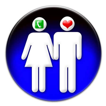 phonecall: A man and a woman icon on a blue glassy button isolated over white background. A man is in love, and a woman is waiting for a phone-call from him.  Stock Photo