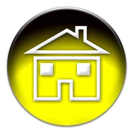A house icon on a yellow glassy button isolated over white background photo