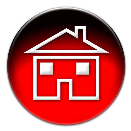 A house icon illustration on a red glassy button isolated over white background