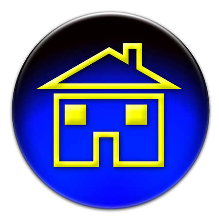 A yellow house icon illustration on a blue glassy button isolated over white background